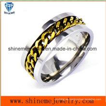 Shineme cadena de moda de joyería con incrustaciones de acero inoxidable anillo (SSR2776)