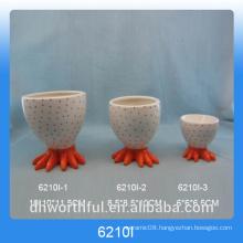 Orange Chick foot design ceramic egg cup holder for Easter Day
