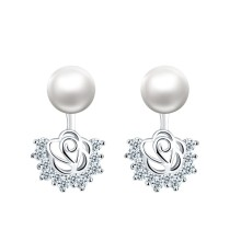 Double Use Natural freshwater pearl with silver flower earring for lady
