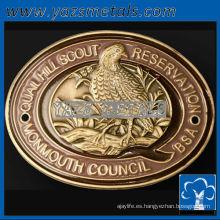 personalizar las medallas de metal, la costumbre de alta calidad de moda forma ovalada senderismo medallones palo