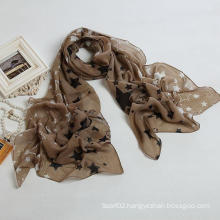 New Style Big Size Brand New Voile Star Scarf Color Brown Fashion Shawls, Lady Scarf, Polyester Scarf (PP035L)