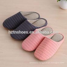 Jacquard cotton fabric indoor slipper mens winter slipper