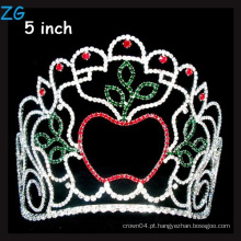 Beleza Maçã Coroa Colorido Rhinestone Natal Pageant Tiara