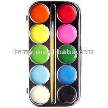 Gâteau de peinture de couleur de l'eau 10-couleur humide-sec avec une brosse 6096 #