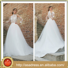 BIE-02 2016 New Fashion Sexy See Through Fit Bodice Applqiued Bridal Wedding Gown Full Length Wedding Dress A Line Princess