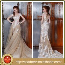 AE-07 Full Appliqued Button Back Short Sleeve Bridal Gown 2015 Mermaid Tulle Detachable Wedding Dress Vestido De Noiva Praia