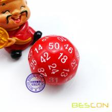 Bescon Polyhedral Dice 50-sided Gaming Dice, D50 die, D50 dice, 50 Sides Dice, 50 Sided Cube of Red Color
