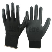 NMSAFETY 13g knitted black nylon glove black breathable foam nitrile coated gloves