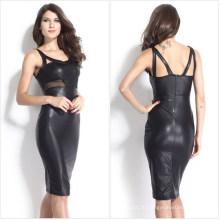 2015 Последние Мода Женщин Черный Искусственной Кожи Сексуальная Карандаш Платье