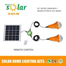 Sistema de kit de energía solar 12W portátil con cargadores móviles para iluminación del hogar