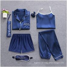 Pijamas sólidos de algodón tipo fannel para ropa cómoda de mujer