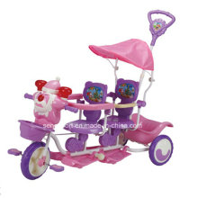Wholesale Santa Cartoon Head Two Seats Baby Tricycle for Twins (SNTR9020)