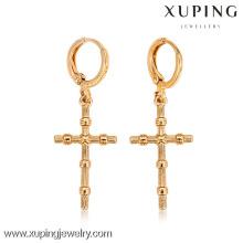 26997- Xuping en gros en alliage de bijoux plaqué or boucles d'oreilles croisées