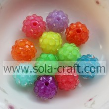 18*20MM Transparent Mix Color Fluorescent Effect Resin Rhinestone Ball Beads