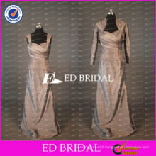 Elegant Cap Sleeve Long Taffeta Mother Of The Bride Dress With Long Sleeve Jacket