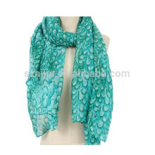 Fashion floral print 100% cotton voile scarf
