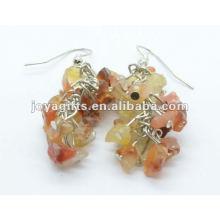 Grape Shaped Red Agade Gemstone Earring