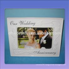 Special design white ceramic wedding photo frames with logo customized