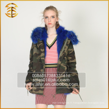 New Style Custom Cheap Raccoon Jacket Fourré fourrure en fourrure Parka