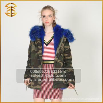 Vente directe à l'usine Mode Manteaux Raccoon Femmes Fourrure Parka