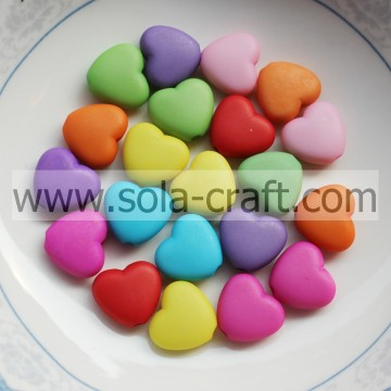 5*11.5*12.5MM Frosted Opaque Colors Acrylic Heart Spacer Beads Pattern