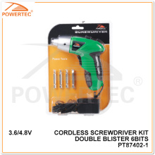 Powertec 3.6/4.8V Double Blister 6 Bits Cordless Screwdriver (PT87402)