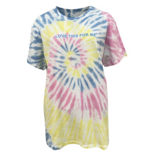 High Quality Summer Colourful Letter Artful Plus Size 100 % Cotton Crew Neck T-Shirt For Women