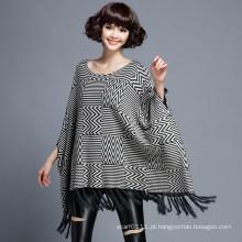 Mulheres fashion herringbone algodão nylon malha inverno xale (yky4526)