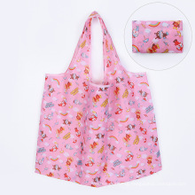 2021New Eco-friendly portable 190T Polyester Reusable Foldable Shopping Bag