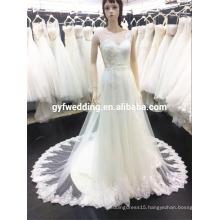 China Wedding Dress 2016 Sexy V-neck Beaded Backless Chapel Train Bridal Dresses Custom Made Y3-1-5