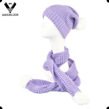 Winter Knitted Scarf and Hat with Pompom