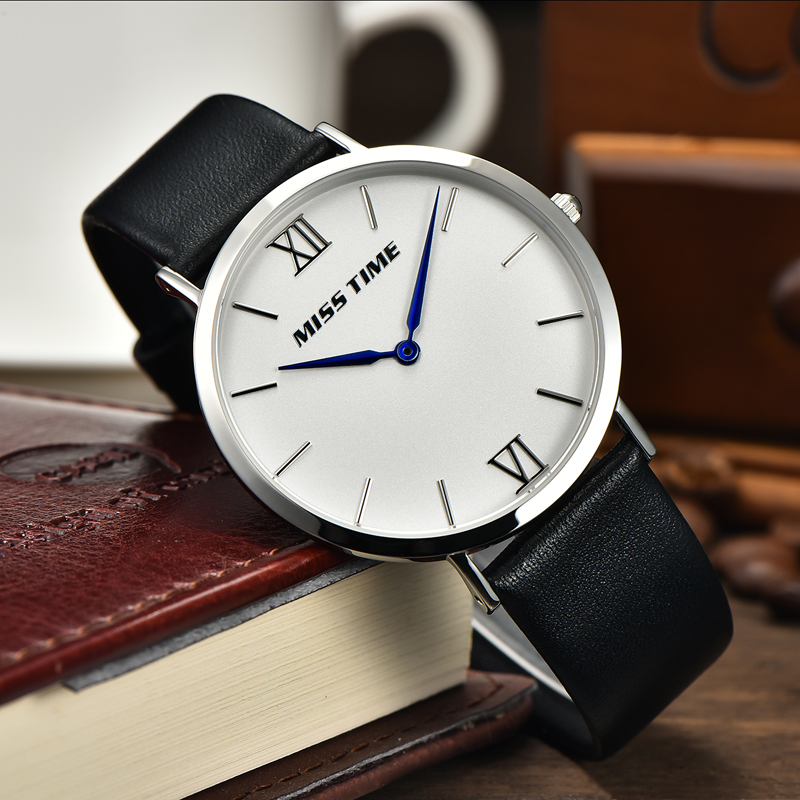Minimalist oem case stainless steel genuine leather band men watch