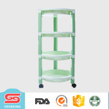 shunxing utilidades domésticas 4-layer circular artigo prateleira de armazenamento de cozinha com roda