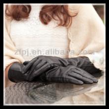 Mode Dame tragen Leder langen Arm Handschuh