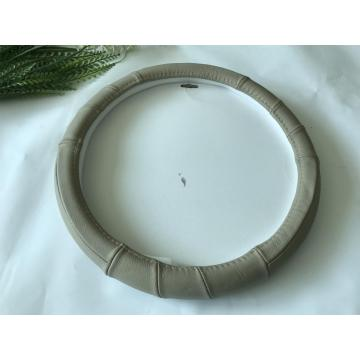Beige OX leather steering wheel cover