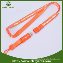 Polyester benutzerdefinierte Seide Bildschirm Lanyard mit USB