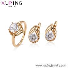 64635 xuping 18k chapado en oro clásico anillo de compromiso de diseño real conjunto de joyas para mujeres