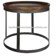 Table basse en bois rond en métal industriel