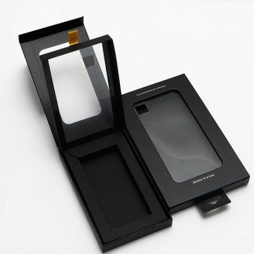 Black paper box with clear window