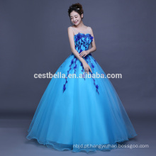 OEM Factory China 2017 Floral Sky Blue Ruffles Quinceanera Prom Dresses Ball Gown Formal Party Ball Gown