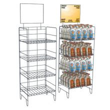 Pisos Stand de supermercado alimentos bebidas metal estantes stand de pantalla de alambre