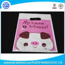 PO bolsa de plástico con la personalización de la impresión Logo & Punch Handle