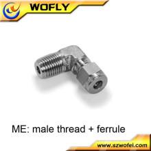 Ferrule do tubo ao parafuso externo acessórios de tubulação roscados do aço inoxidável cotovelo masculino