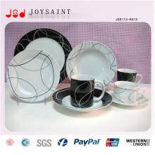 Plaque divisée rectangulaire de dîner de porcelaine en gros pour le restaurant
