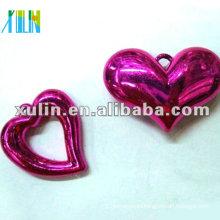 wholesale darker purple plastic resin UV plating heart pendant