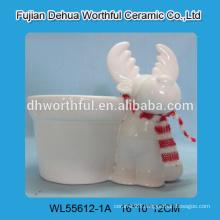 2016 new style ceramic flower pot in reindeer shape for christmas