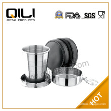 60ml,140ml,250ml food grade stainless steel metal folding cup,Collapsing cup with leather case