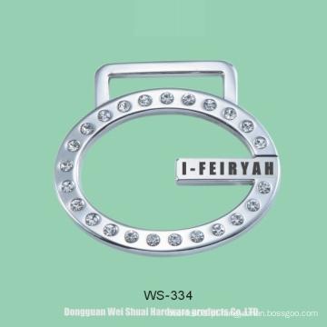Logotipo para bolsas, zinco liga etiqueta coberto diamantes