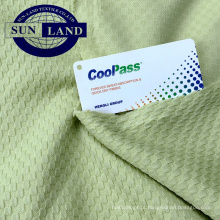 100 tecido de verificação jacquard de ajuste seco de poliéster para camisetas ou polo