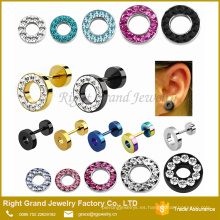 Acero inoxidable quirúrgico 316L Multi-Rhinestone jeweled tapones falsos tapones